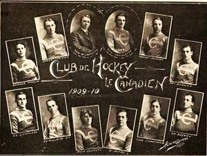 "A collage of 12 photographs representing each member of the first Montreal Canadiens team surround the phrase ""Club de Hockey le Canadien 1909–10"""