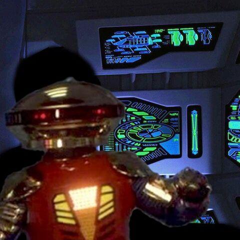Alpha 5 piloting the Gummi Ship 1000