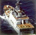 Quarter view of a Soviet Ivan Rogov class ship