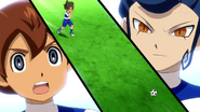 Tenma and Tsurugi shocked at Matatagi's dribbling Galaxy 3 HQ
