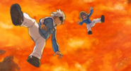 Shindou and Ibuki falling in lava Galaxy game