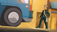 Domon almost gets hit by a Truck in episode 10