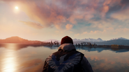 True Hero Delsin looks at the destroyed 520 bridge