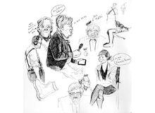 Live sketch of Jacques Tardi, Paul Gravett, Pat Mills at Comica talk 2015
