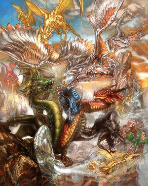 File:War of the Dragon gods by mariecannabis.jpg