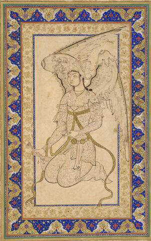 File:Ottoman Dynasty, Kneeling Angel, by Shah Quli, mid 16th century.jpg