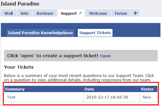 Support ticket response page