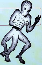 180px-Tripodal alien, John A Short in Alien Encounters, August 1997