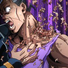 Okuyasu's bad shoulder peeling away.