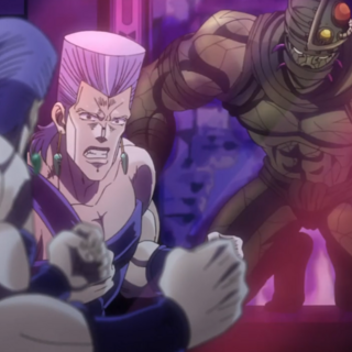 Attacking Polnareff from the mirror