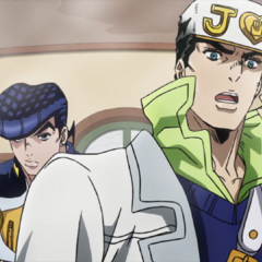 Jotaro and Josuke battle Aqua Necklace in its steam form.