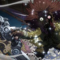 Silver Chariot utterly destroys Ebony Devil, killing it