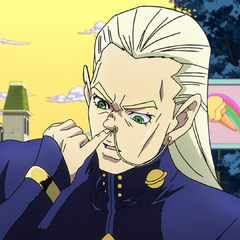 Mikitaka comically imitating Okuyasu.