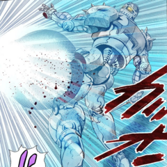 Silver Chariot's left thigh is disintegrated by Cream