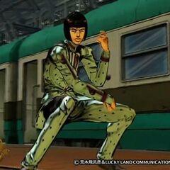 A screenshot of Bucciarati in <i>All-Star Battle</i>