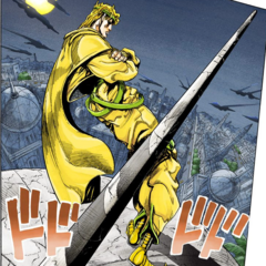 DIO standing on top of his mansion's steeple