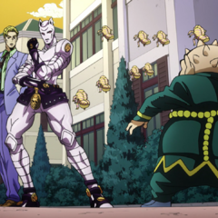 Shigechi prepares to battle Kira and his Stand, <a href=