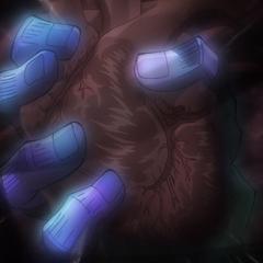 Star Platinum grips Jotaro's heart, hiding his heartbeat