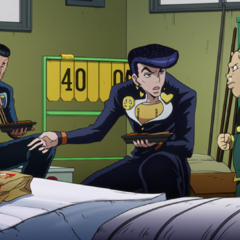 Josuke and Okuyasu being accused by Shigechi of stealing his sandwich.