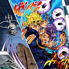 Giorno and Mista work together to ground <a href=