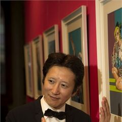 Araki at his Gucci Exhibition in Florence