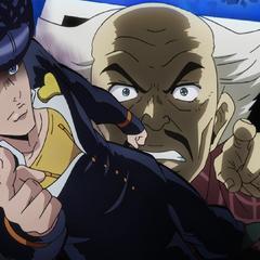 Being threatened by Josuke.