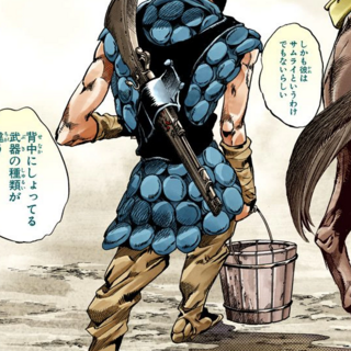 Norisuke's first appearance, his weapon commented on by Gyro and Johnny