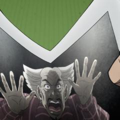 Yoshihiro is folded in half by Jotaro.