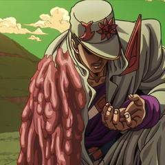 Jotaro's arm melting from the effects of Ratt's flesh-melting barbs.