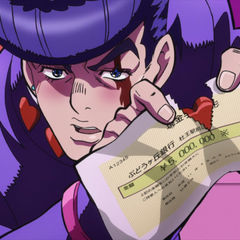 Tearing the five-million yen check in half.