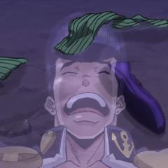 Josuke cries over ruining his expensive footwear.