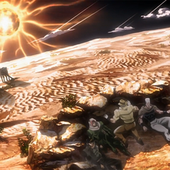 The Joestar group taking cover from Sun's fatal heat