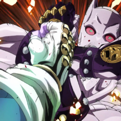 Blocking a surprise attack from Star Platinum: The World.