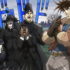 Speedwagon with the others surprised to see Joseph alive
