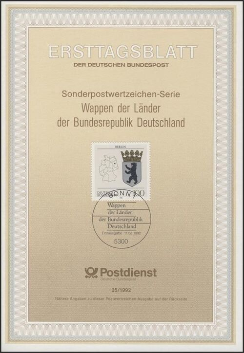 Germany, Federal Republic 1992 Coat of Arms of the Federal States of Germany (1st Group) IOP-ETBc