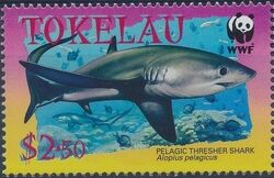 Tokelau 2002 WWF Pelagic Thresher Shark d