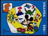 Uganda 1993 Mickey Mouse and Friends with Dinosaurs d