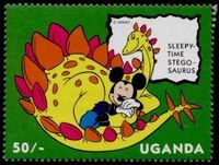 Uganda 1993 Mickey Mouse and Friends with Dinosaurs a