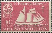 St Pierre et Miquelon 1942 Fishing Schooner St. Malo b