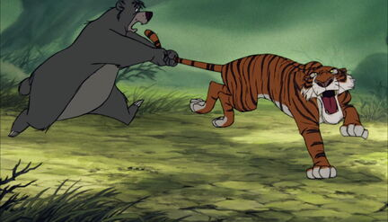 Baloo the Bear is still holding onto Shere Khan the tiger's tail