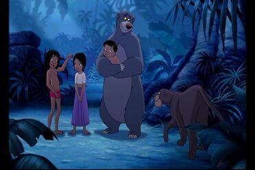 Mowgli is introducing Shanti to Bagherra the Black Panther