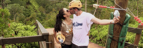 Couple-kissing rope bridge