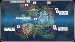 Panauan oil and gas fields (map)