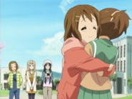 Yui hugging Ui - K-ON S1 EP8