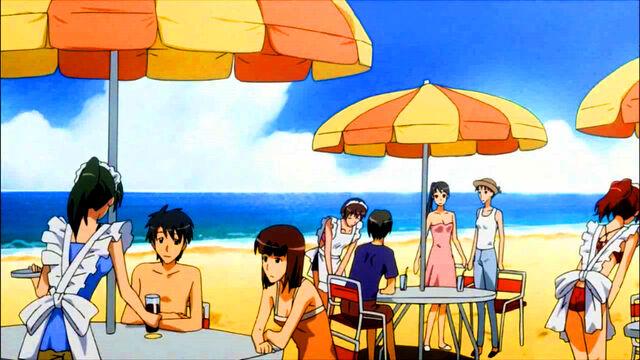 File:Tables on the beach.jpg