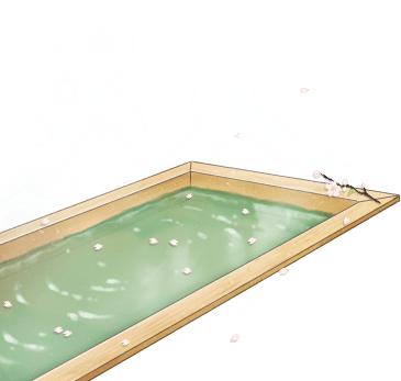 Original Hinoki wood hot spring bath