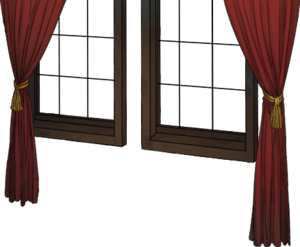 Window with red curtain