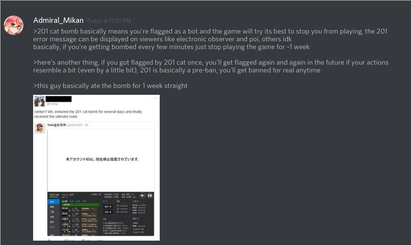 Kancolle Subreddit Discord chat discussion on error 201 leading up to ban