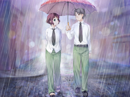 Hisao and Rin walking in the rain