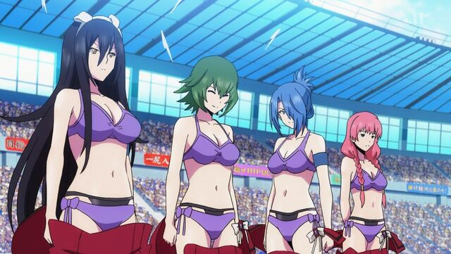 File:Sanae, Kei, Ayase, Mai prepare to fight.jpg